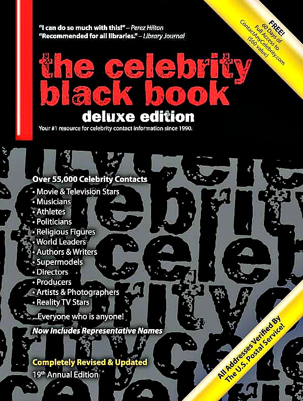 The Celebrity Black Book 2019 (Deluxe Edition): 56,000+ Verified Celebrity Addresses for Fans, Businesses & Nonprofits Jordan McAuley Book Cover